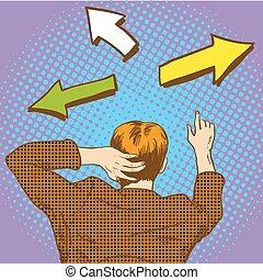 人, 芸術, ビジネス, 多数, イラスト, 選択, 掘り出し物, ベクトル, ポンとはじけなさい, 方法, arrows., 道, 交差道路, style., レトロ