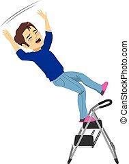 人, 落ちる, はしご
