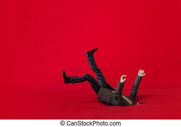 人, 落下, 進, a, 坑, 商人, 以及, 信用, debt., 落入, 債務, 洞