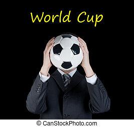 人, 藏品, a, 足球, 前面, 他的, face., 足球, 世界杯杯狀結構杯狀物