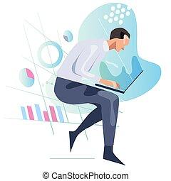 人, 見る, chart., 分析, ラップトップ, 統計量, 情報, 概念, データ, スクリーン