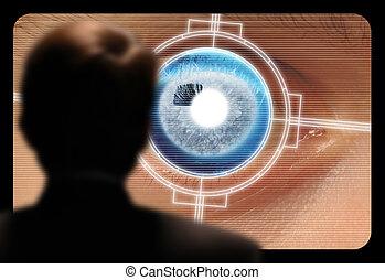 人, 視聴, a, retinal, 目, 走り読みしなさい, 上に, a, ビデオ モニター
