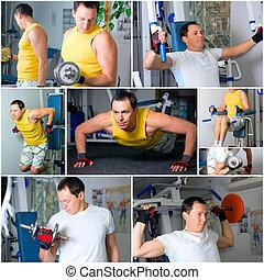 人, 訓練, 在, 健身房
