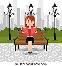 人, 読書, 上に, ∥, 公園