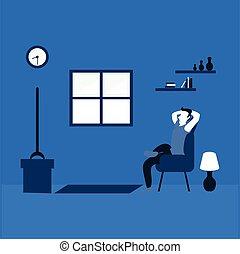 人, 調子, 2, 平ら, 家, イラスト, テレビの 監視, -