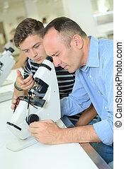 人, 調查, 目鏡, 顯微鏡
