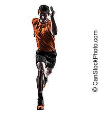 人, 賽跑的人, 慢跑者, 跑, 慢慢走, 黑色半面畫像