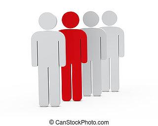 人, 赤, リーダーシップ, 3d