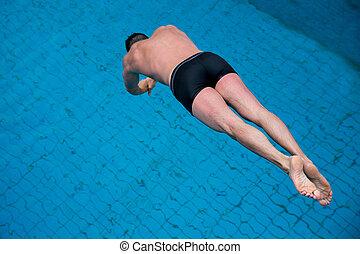 人, 跳躍, 從, 跳板, 在, 游泳池