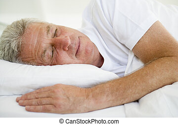 人, 躺, 床, 睡覺
