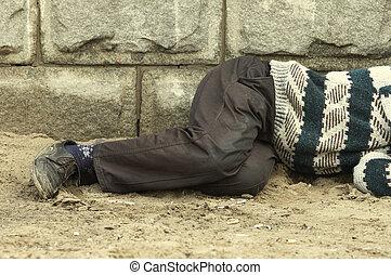 人, 通り, ホームレスである, 睡眠