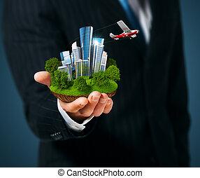 人, 都市, 手の 保有物, 大きい