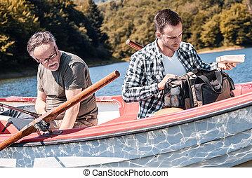 人, 釣魚, 湖, 成人