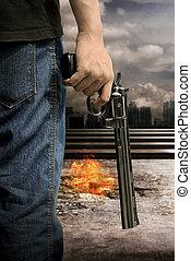 人, 銃, 手を持つ