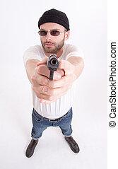 人, 銃, 指すこと