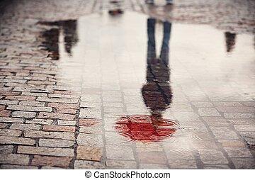 人, 雨の日