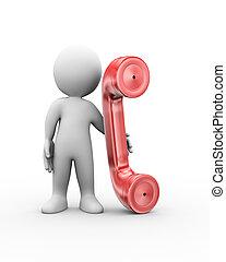 人, 電話, 協力, 3d