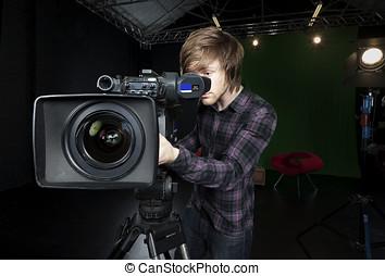 人, 顔つき, に, viewfinder, の, a, tvスタジオ, カメラ