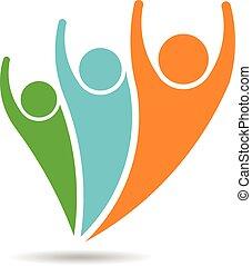 人, 3人の人々, vector., ロゴ
