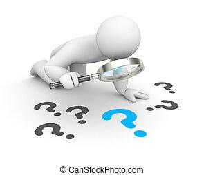 人, 3d, 検査する, 質問