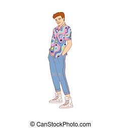 人, 80s, スケッチ, イラスト, ベクトル, ∥あるいは∥, isolated., スタイル, 身に着けていること, 90s, 衣服