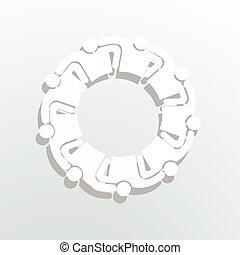 人, 9, グループ, logo., 人々