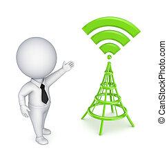 人, antenna., 定型, 3d, 小さい