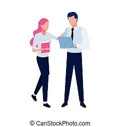 人, avatar, 藏品, 婦女, 電腦, 膝上型, 文件, 事務