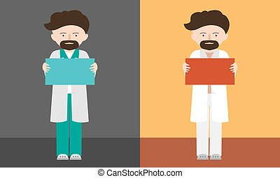 人, baner, 地位, ∥あるいは∥, あごひげを生やしている, 保有物, 印, 手, 漫画, 医者, 別, テキスト, ブランク, イラストスペース, 色, ベクトル, professor.