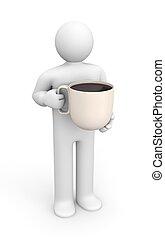 人, coffe のコップ