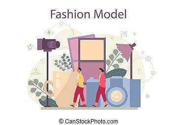 人, concept., モデル, 女, 表しなさい, 新しい, 衣服, ファッション