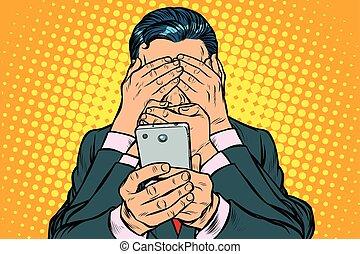 人, concept., smartphone, 検閲, インターネット