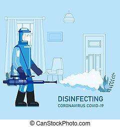 人, coronavirus, 予防, 清掃, 病気, 化学物質, ウイルス, イラスト, スプレー, 内部, 家, ...