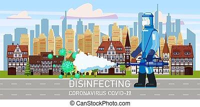 人, edical, ダウンタウンに, 化学科学者, スーツ, 殺菌しなさい, 通り, スタイル, 清掃, イラスト, ...