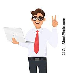 人, gesture., 膝上型, 事務, 成功, illustration., 生活方式, 矢量, 藏品, 技術, 胜利, 數字, 徵候。, 和平, cartoon., v, 現代, 人, 顯示, 年輕, 男性, 或者, 字, 做, 二