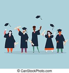 人, graduation., 婦女, 學生, 披風
