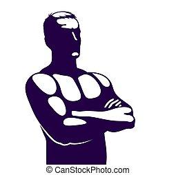 人, icon., 强壮, 手, 横越, 胸部, 标识语, 矢量, 或者, 侧面影象, 完美