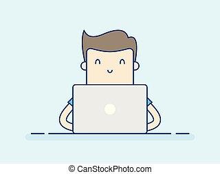 人, laptop., 工作, 年輕