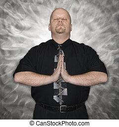 人, meditating.