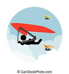 人, paragliding, 风景, 圆