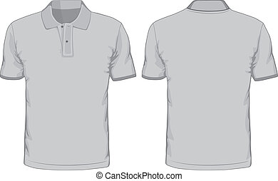 人` s, polo-shirts, template., 前面, 以及, 背, 見解
