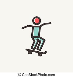 人, skateboarding, 薄いライン, アイコン