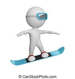 人, snowboard, 3d