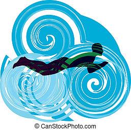 人, swimming., 矢量, 插圖