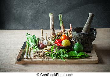 仍然生活, 在中, 蔬菜, 食物, 同时,, 厨房工具, 对象