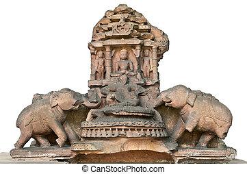 仏陀の彫刻, medidating, 中に, 二輪戦車
