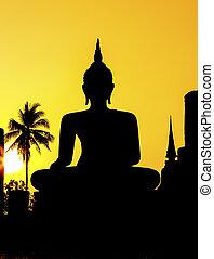 仏, 像, 寺院, sukhothai プロビンス, 公園, 歴史的, タイ, wat mahathat