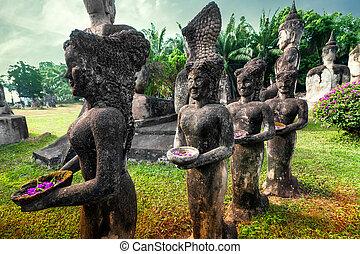 仏, 宗教, khuan, 彫像, xieng, 神話, ワット, park.
