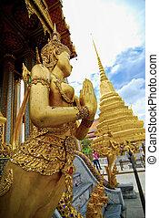 仏, 寺院, 青い空, phra, kaew, タイ, ワット, バンコク, エメラルド
