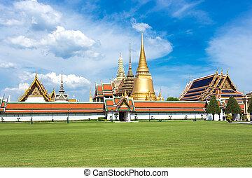 仏, 寺院, 青い空, phra, kaew, 壮大, ワット, バンコク, タイ, エメラルド, 宮殿